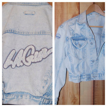 Vintage 1980's Cropped Acid Washed LA Gear Denim Jean Jacket with Star Patch