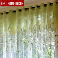 BHD tulle sheer window curtains for living room the bedroom modern tulle curtains green leaves fabric blinds drapes