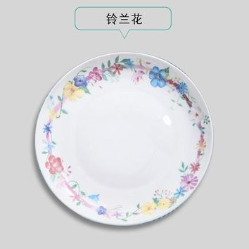 DCCKL72 Creative Cartoon Animal Ceramic Plate Dish 8 inches Bone China Porcelain Round Flat Dinning Lunch Plate