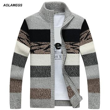 Aolamegs Men Sweater Fashion Contrast Color Autumn Winter Cardigan Outwear Zipper Sweatercoat Male Knitting Sweter Hombre M-3XL