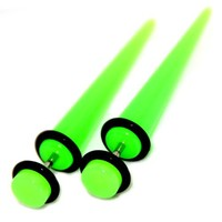 Fake Cheaters Illusion Tapers Expanders Stretchers Plugs Neon Green, 16G 1.2mm, Look 2G 6mm, 1 Pair