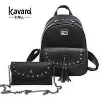 Kavard Brands Backpack Women Backpacks High Quality Pu Leather Back Pack With Purse Rivet Plaid School Bags for Girls mochilas