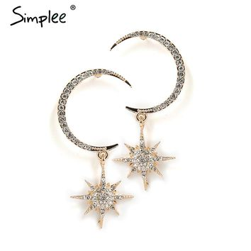 Simplee Trendy star gold drop earring women Chic moon alloy dangle earring 2018 Elegant long pendant jewelry party accessories