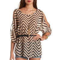 COLD SHOULDER SHEER CHEVRON TUNIC TOP