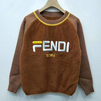 Fendi F Striped Color Letter Round Neck Collar Knitted Sweater-18