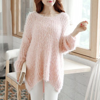 Pink Long Sleeve Mohair Sweater