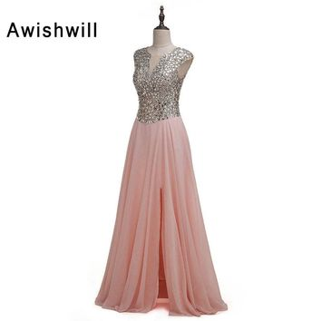 See Through Back Cap Sleeve Front Slit Chiffon Long Prom Dresses Sparkly Beads Rhinestones Evening Party Dress Vestido Formatura