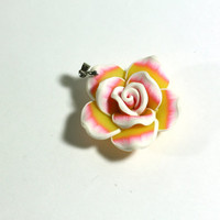 Pink, Yellow, and White Large Clay Rose Flower Pendant Bead on Bail - Jewelry Supplies - Jewelry Making