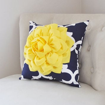 PILLOWS Decorative - Bright Yellow Dahlia on Navy and White Moroccan Pillow -  Throw Pillow - Decorative Pillows