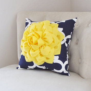 and decorative navy wanelo dahlia yellow white pillows shop moro decor bright moroccan on