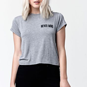 LA Hearts Nevermind Short Sleeve Crew T-Shirt - Womens Tee - Grey