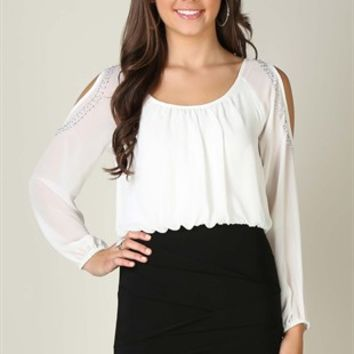 Cold Shoulder Blouson Dress with Bodycon Banded Skirt