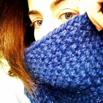 Unisex Scarf - Blue Knitted Neck Warmer