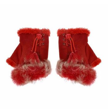 Women's Red Soft Winter Warm Comfortable Rabbit Fur Fingerless Gloves