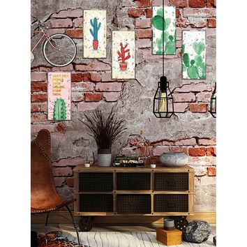 Cactus Print Wall Sticker 6pcs