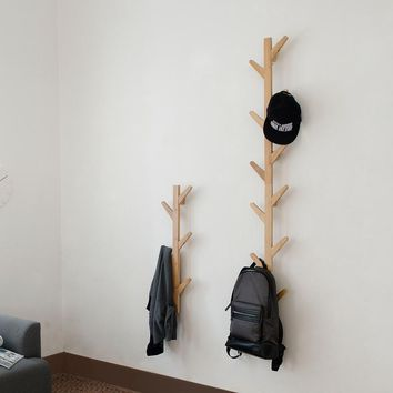 2017 Rushed New Prateleira Wall Shelf Tree Shape Bamboo Coatrack Cap Othes Hook Hanger For Creative Living Room Wall Hanging