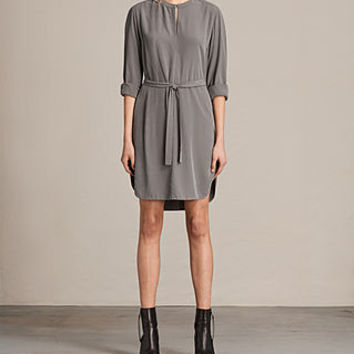 ALLSAINTS US: Womens Celi Dress (Khaki Green)