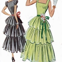 Vintage 50s McCalls 8284 ROCKABILLY Three Tiered PARTY Dress with Underskirt Sewing Pattern Size 15 Bust 33 UNCUT