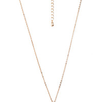 FOREVER 21 Breast Cancer Ribbon Necklace Gold/Clear One