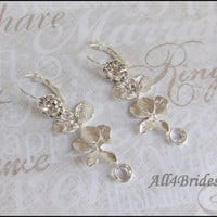 Orchid Flower Earrings - Bridal Accessories Drop Earrings -Cascading Orchids- Bridesmaids Jewelry - Gift -  Destination Wedding Jewelry