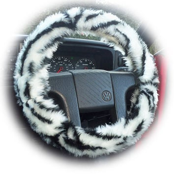White silver tiger stripe faux fur furry fluffy fuzzy car Steering wheel cover