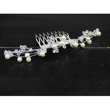 Silver Wave and Pearl Bridal Hair Comb