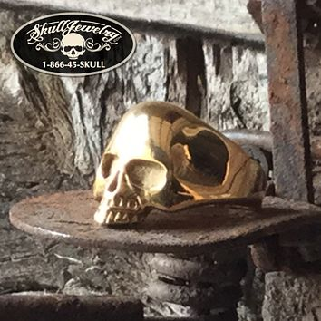 'Gold' Old School Stainless Steel Skull Ring (706)