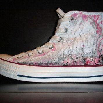 QIYIF hand painted converse all star shoes pink and silver