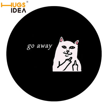 HUGSIDEA Thin Bathroom Cat Go Away Round Mats for Cats Funny Doormat for Bath Anti-Slip Kitty Animals Mats 3 Size Drop shipping