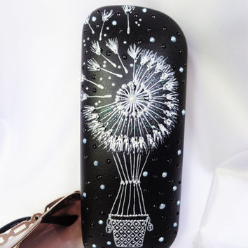 RESERVED FOR RUSLANA Glasses case Dandelion decor Painted case