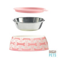 Martha Stewart Pets 3-Piece Bowl Set for Dogs - Pink