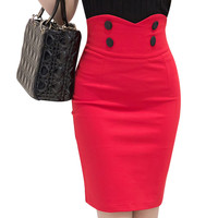 Slim Button High Waist Plus Size Skirts