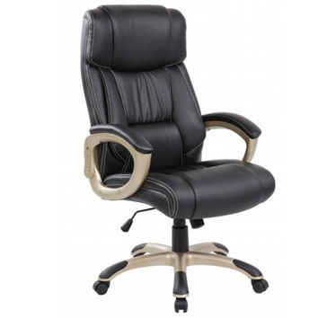 Black Padded High Back PU Leather Ergonomic Office Chair with Back and Arms Support