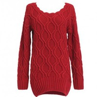 Oversized Red Cable Knitted Jumper with Curved Hem and Scalloped Trim