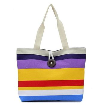 Colorful Striped Canvas Tote Bags