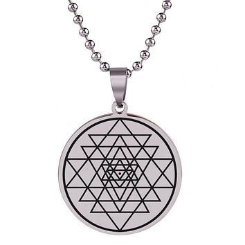 Mystic Sri Yantra Stainless Steel Necklace