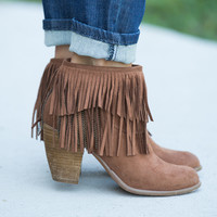 The Keira Fringe Booties Brown