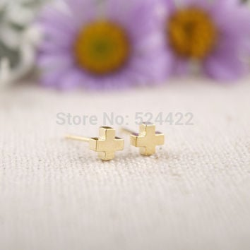 2016 New Arrival gold small cross stud Earrings Simple Tiny Stud color gold silver rose gold earrings for ladies ED004