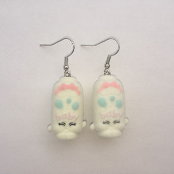 Shopkins Foodie Earrings - Baby Puff - repurposed toys