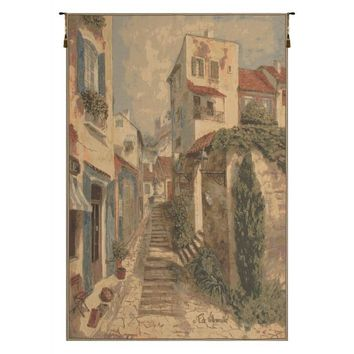 French Town Steps European Tapestry