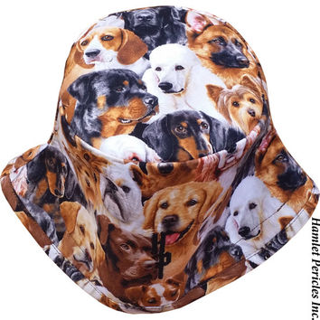 Dogs Allover Unisex Bucket Hat | Dog Hat | Dogs | Puppies | Brown Hat | Animal Print | Bulldog | Poodle | Beagle | Terrier by HamletPericles