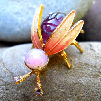 Bug Fly Insect WARNER Brooch Pin, Purple Scarab, Glass Fire Opal, Signed Vintage