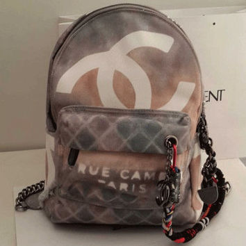 CHANEL Grey Graffiti Backpack #2