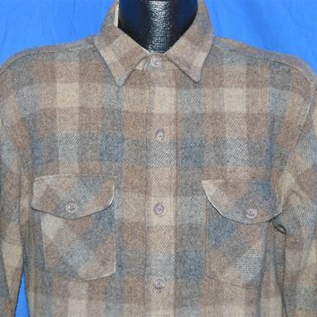 80s Woolrich Plaid Button Down Wool Jacket Large