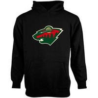 Old Time Hockey Minnesota Wild Youth Big Logo Fleece Pullover Hoodie - Black