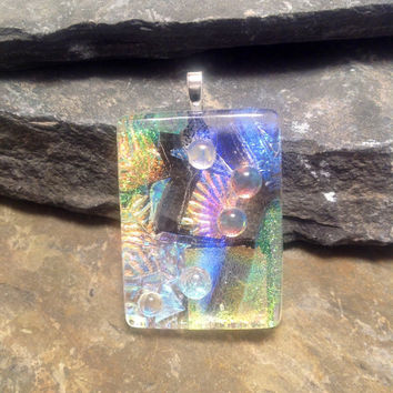 Dichroic glass jewelry, fused glass pendant, handmade dichroic glass, with/ silver chain