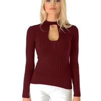 Lyss Loo Glamorous Ribbed Burgundy Long Sleeve Cut-Out Top