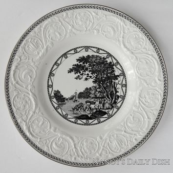 Antique Wedgwood Black Transferware Plate Grazing Cattle Sailboat Lake Creamware Embossed Border
