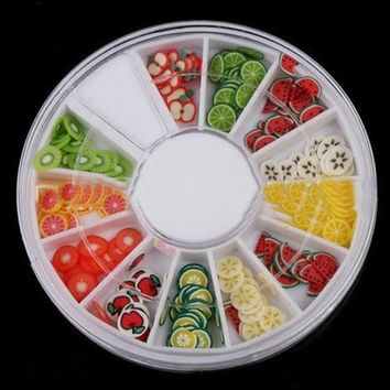 Beauty Girl 12 Color DIY Nail Art Decorations Fruit Slices 3D Polymer Clay Tiny Nail Art Sep 1