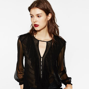 FRILLED TULLE BLOUSE